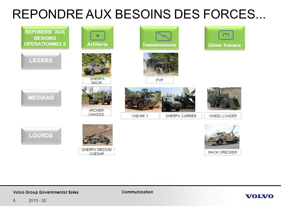 Volvo Group Governmental Sales Communication 62013 - 02 REPONDRE AUX BESOINS DES FORCES... Artillerie Transmissions Génie travaux ARCHER CHASSIS SHERP