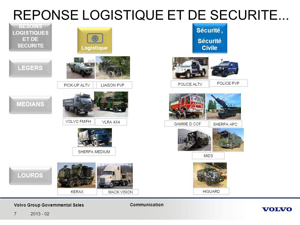 Volvo Group Governmental Sales Communication 72013 - 02 REPONSE LOGISTIQUE ET DE SECURITE... Logistique MACK VISION VOLVO FM/FH KERAX Sécurité, Sécuri