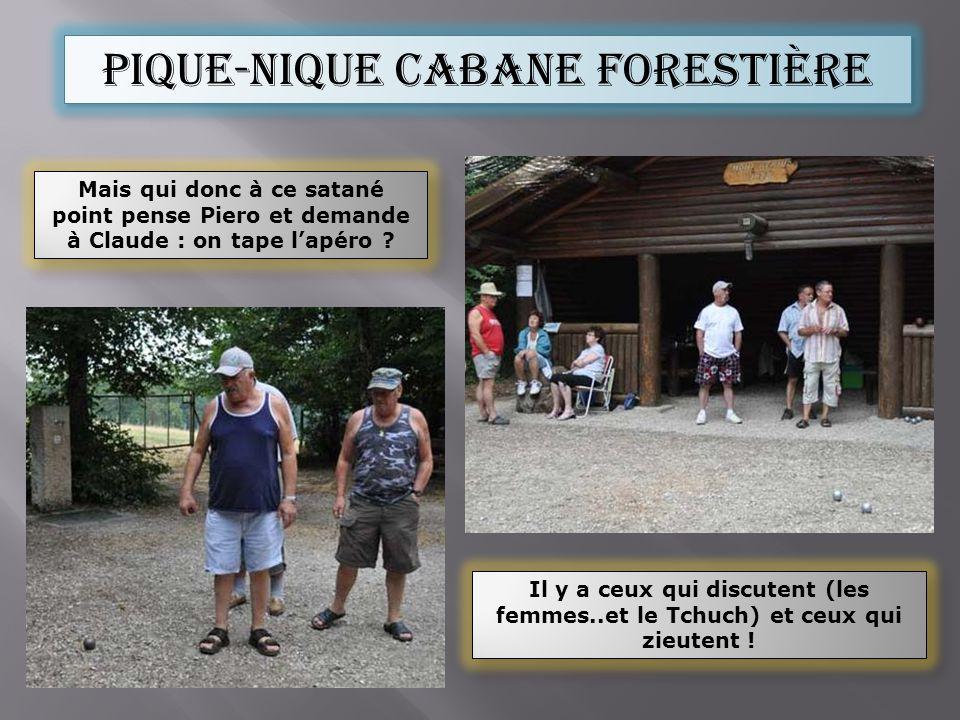 Pique-nique cabane forestière Il y a ceux qui discutent (les femmes..et le Tchuch) et ceux qui zieutent .