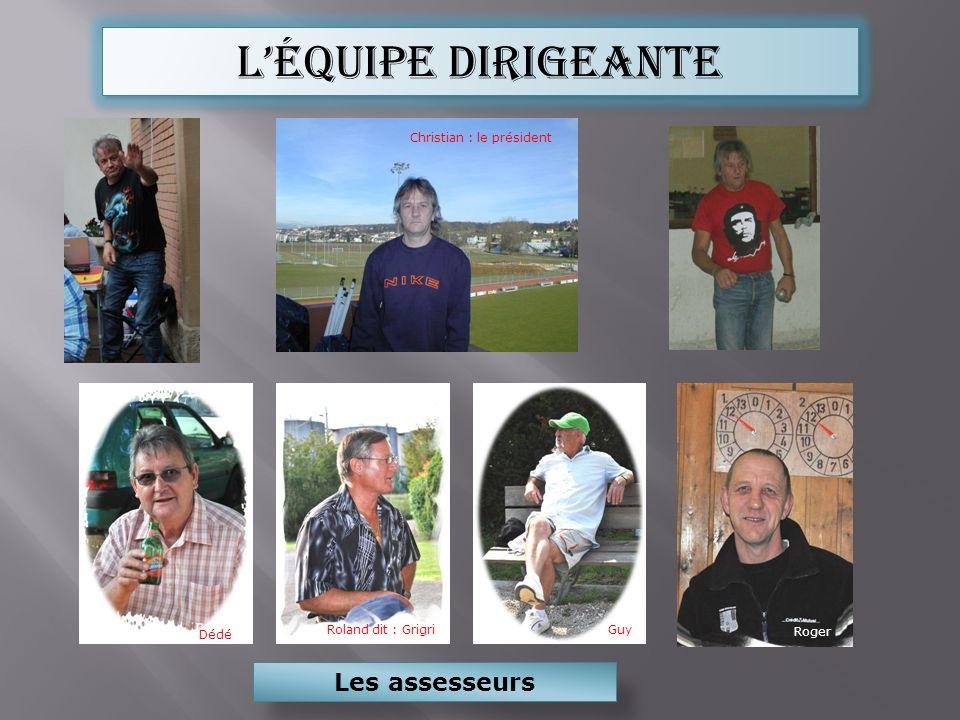 Léquipe dirigeante Christian : le président Les assesseurs Roger Dédé Roland dit : Grigri Guy