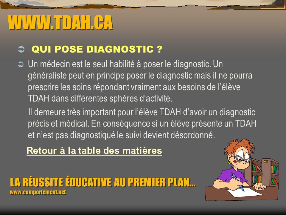WWW.TDAH.CA QUI POSE DIAGNOSTIC ? Comme intervenants scolaires nous ne pouvons diagnostiquer un élève TDAH. Nous pouvons toutefois observer que lélève