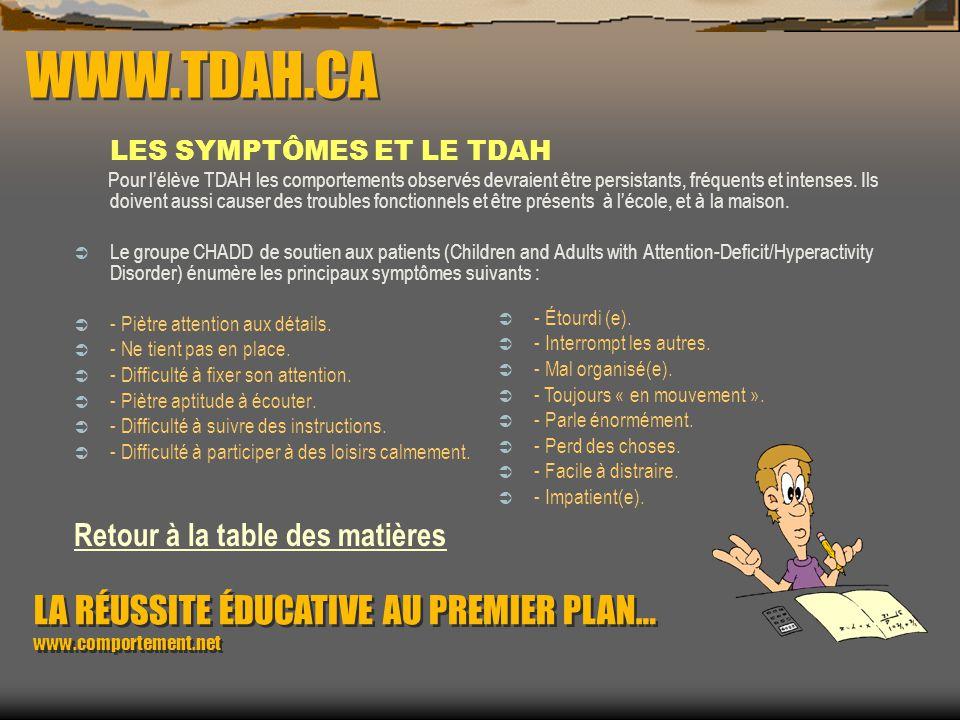 WWW.TDAH.CA LES CAUSES ET LE TDAH Quelques facteurs pouvant avoir une cause à effet sur cette problématique : Hérédité : des travaux de recherche lais