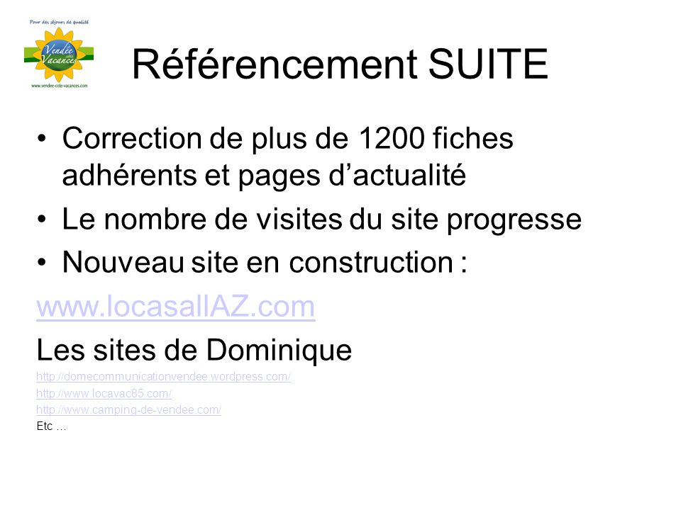 Référencement SUITE Correction de plus de 1200 fiches adhérents et pages dactualité Le nombre de visites du site progresse Nouveau site en construction : www.locasallAZ.com Les sites de Dominique http://domecommunicationvendee.wordpress.com/ http://www.locavac85.com/ http://www.camping-de-vendee.com/ Etc …