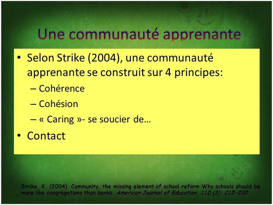 Selon Strike (2004), une communauté apprenante se construit sur 4 principes: – Cohérence – Cohésion – « Caring »- se soucier de… Contact Strike, K. (2