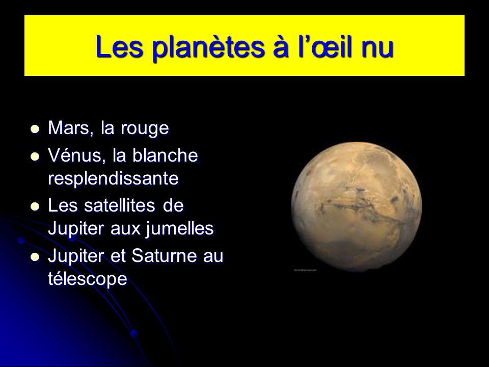Les planètes à lœil nu Mars, la rouge Mars, la rouge Vénus, la blanche resplendissante Vénus, la blanche resplendissante Les satellites de Jupiter aux jumelles Les satellites de Jupiter aux jumelles Jupiter et Saturne au télescope Jupiter et Saturne au télescope