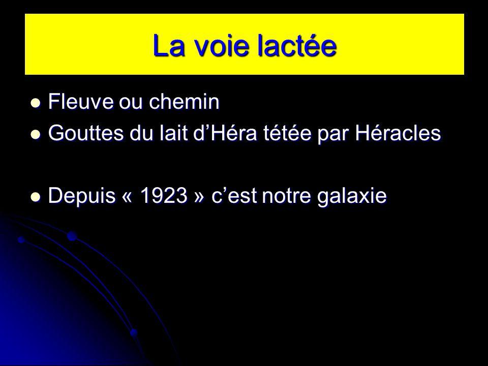 La voie lactée Fleuve ou chemin Fleuve ou chemin Gouttes du lait dHéra tétée par Héracles Gouttes du lait dHéra tétée par Héracles Depuis « 1923 » cest notre galaxie Depuis « 1923 » cest notre galaxie