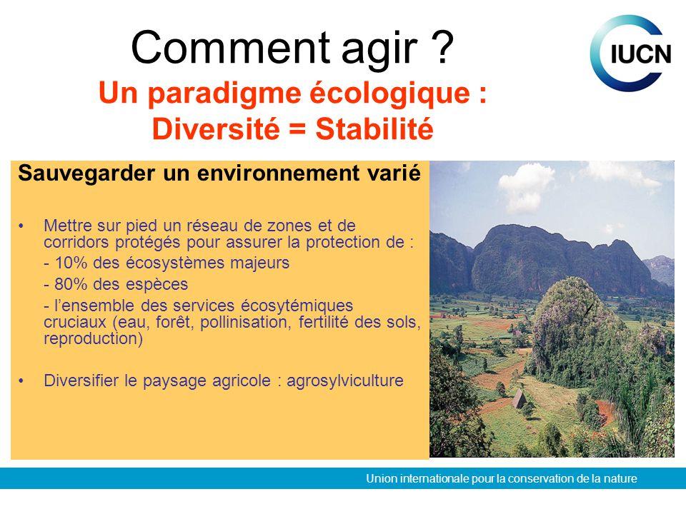 Union internationale pour la conservation de la nature Améliorer la gestion à long terme de la biodiversité Développer une politique de planification dutilisation des sols et revoir les structures agraires Décentraliser la gestion de la biodiversité vers les communautés locales Inciter à la gestion durable : éco-certification