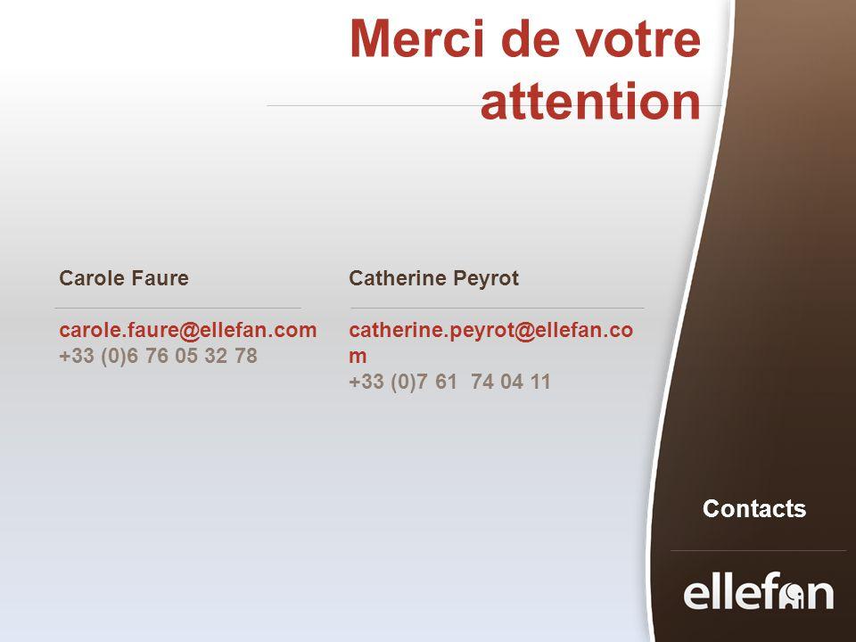 Merci de votre attention Contacts Carole Faure carole.faure@ellefan.com +33 (0)6 76 05 32 78 Catherine Peyrot catherine.peyrot@ellefan.co m +33 (0)7 6