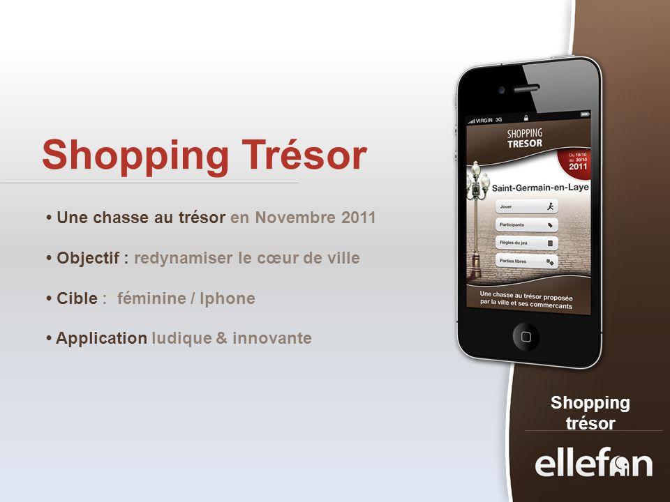 Shopping Trésor Shopping trésor Une chasse au trésor en Novembre 2011 Objectif : redynamiser le cœur de ville Cible : féminine / Iphone Application lu