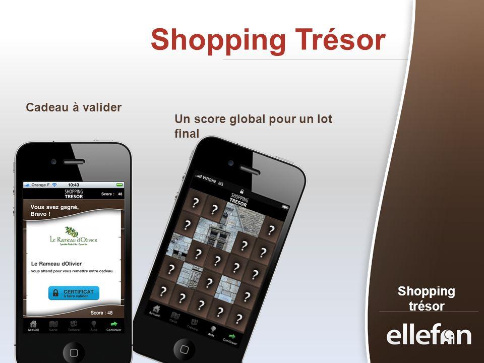Shopping Trésor Shopping trésor Cadeau à valider Un score global pour un lot final