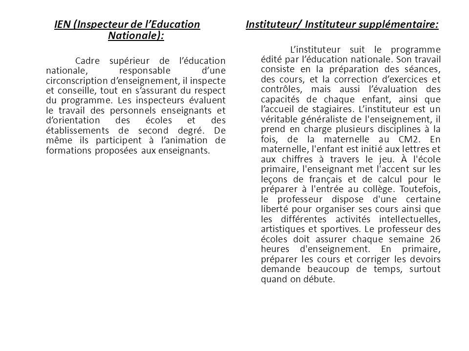 IEN (Inspecteur de lEducation Nationale): Cadre supérieur de léducation nationale, responsable dune circonscription denseignement, il inspecte et cons