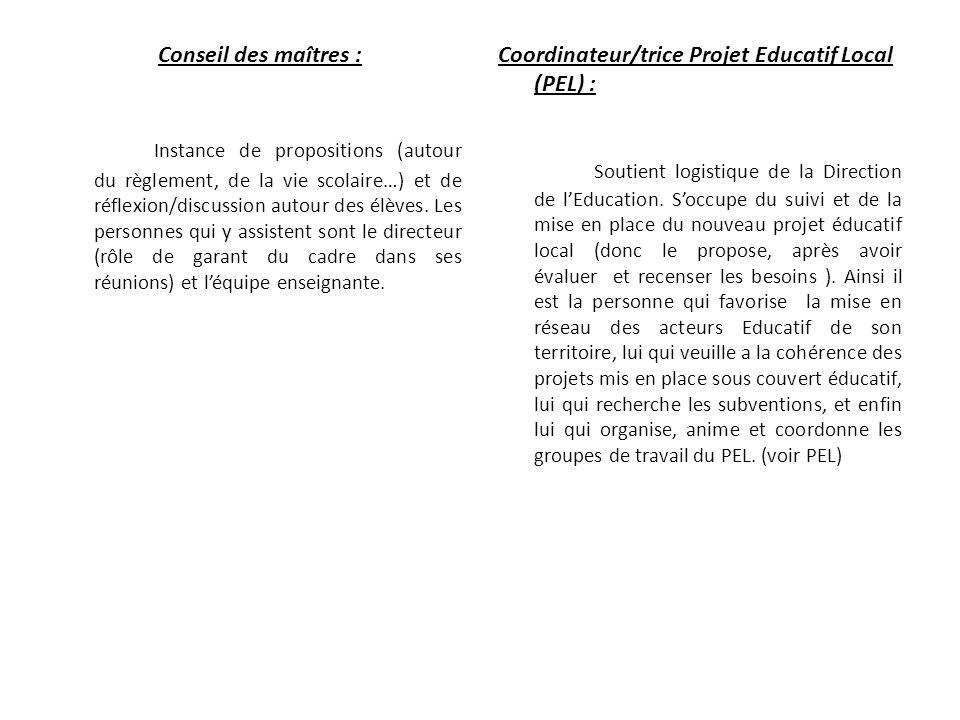 Conseil des maîtres : Instance de propositions (autour du règlement, de la vie scolaire…) et de réflexion/discussion autour des élèves. Les personnes