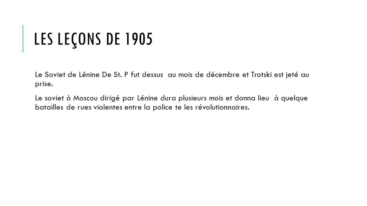 LES LEÇONS DE 1905 Le Soviet de Lénine De St.