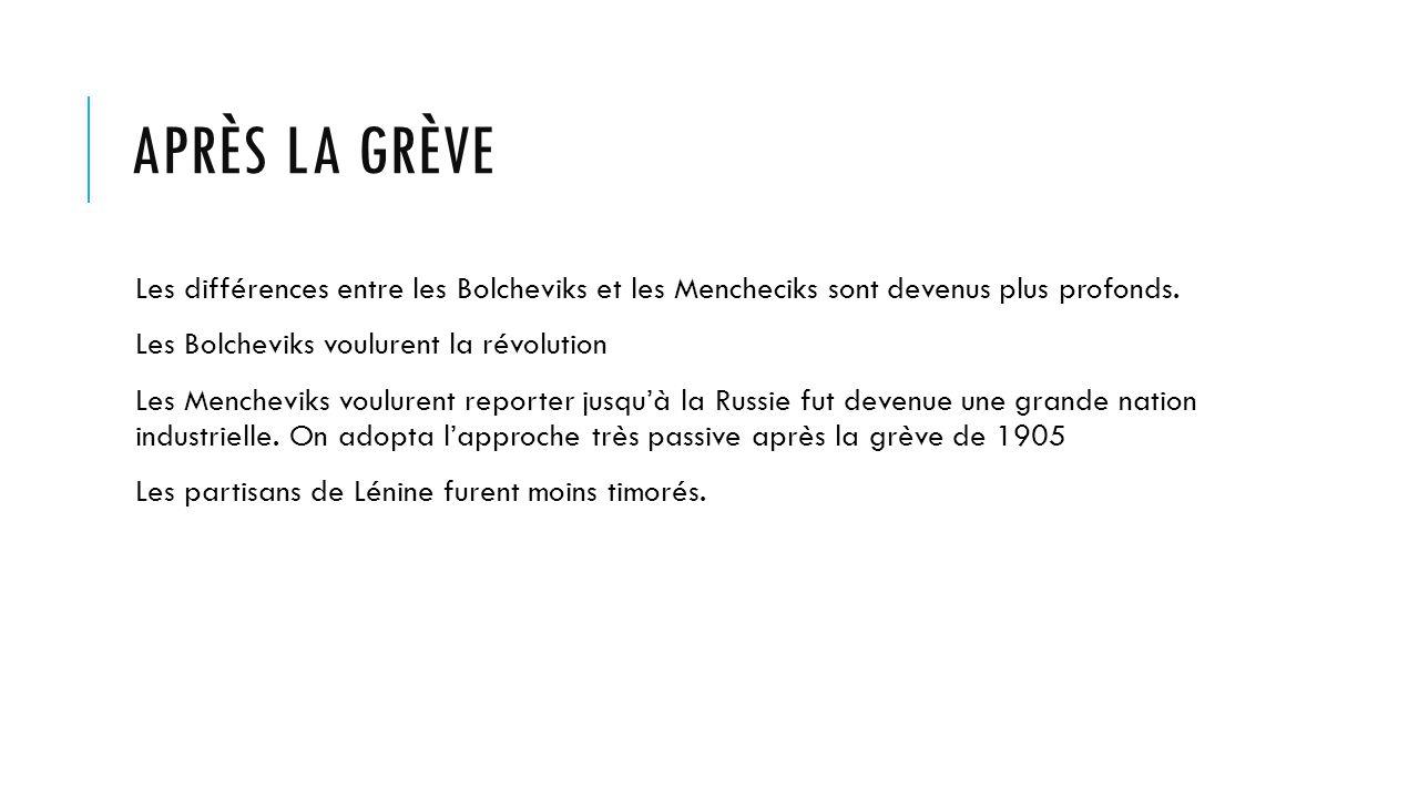 APRÈS LA GRÈVE Les différences entre les Bolcheviks et les Mencheciks sont devenus plus profonds.