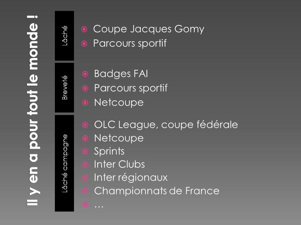 Lâché Lâché campagne Coupe Jacques Gomy Parcours sportif OLC League, coupe fédérale Netcoupe Sprints Inter Clubs Inter régionaux Championnats de Franc