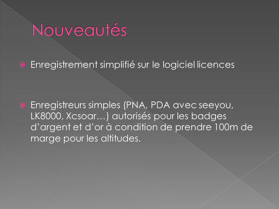 Enregistrement simplifié sur le logiciel licences Enregistreurs simples (PNA, PDA avec seeyou, LK8000, Xcsoar…) autorisés pour les badges dargent et dor à condition de prendre 100m de marge pour les altitudes.