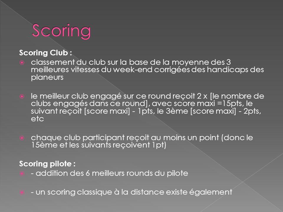Scoring Club : classement du club sur la base de la moyenne des 3 meilleures vitesses du week-end corrigées des handicaps des planeurs le meilleur clu