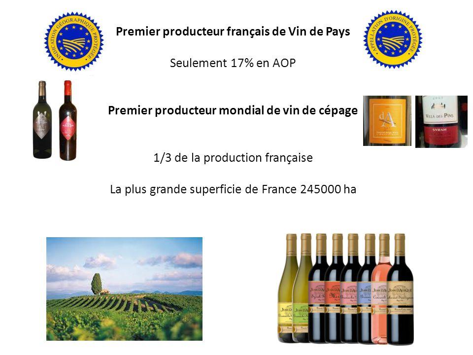 Premier producteur français de Vin de Pays Seulement 17% en AOP Premier producteur mondial de vin de cépage 1/3 de la production française La plus grande superficie de France 245000 ha 30 000 vignerons ( 2500 caves privées ) 400 coopératives (80% de la production régionale) 12 millions d hectolitres dont 1.4 millions d hectolitres d AOP vins tranquilles 15% de vins blancs secs et doux, 85% de vins rouges et vins doux ( 30 % ) sup france 83 % en IGP dont les VDP ( 60% des IGP de France )