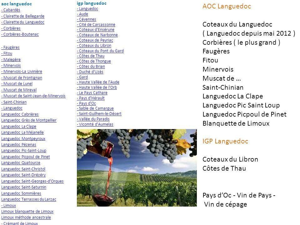 aoc languedoc - Cabardès - Clairette de Bellegarde - Clairette du Languedoc - Corbières - Corbières-Boutenac - Faugères - Fitou - Malepère - Minervois - Minervois-La Livinière - Muscat de Frontignan - Muscat de Lunel - Muscat de Mireval - Muscat de Saint-Jean-de-Minervois - Saint-Chinian - Languedoc Languedoc Cabrières Languedoc Grès de Montpellier Languedoc La Clape Languedoc La Méjanelle Languedoc Montpeyroux Languedoc Pézenas Languedoc Pic-Saint-Loup Languedoc Picpoul de Pinet Languedoc Quatourze Languedoc Saint-Christol Languedoc Saint-Drézéry Languedoc Saint-Georges-d Orques Languedoc Saint-Saturnin Languedoc Sommières Languedoc Terrasses du Larzac - Limoux Limoux blanquette de Limoux Limoux méthode ancestrale - Crémant de Limoux igp languedoc - Languedoc - Aude - Cévennes - Cité de Carcassonne - Coteaux d Ensérune - Coteaux de Narbonne - Coteaux de Peyriac - Coteaux du Libron - Coteaux du Pont du Gard - Côtes de Thau - Côtes de Thongue - Côtes du Brian - Duché d Uzès - Gard - Haute Vallée de l Aude - Haute Vallée de l Orb - Le Pays Cathare - Pays d Hérault - Pays d Oc - Sable de Camargue - Saint-Guilhem-le-Désert - Vallée du Paradis - Vicomté d Aumelas AOC Languedoc Coteaux du Languedoc ( Languedoc depuis mai 2012 ) Corbières ( le plus grand ) Faugères Fitou Minervois Muscat de … Saint-Chinian Languedoc La Clape Languedoc Pic Saint Loup Languedoc Picpoul de Pinet Blanquette de Limoux IGP Languedoc Coteaux du Libron Côtes de Thau Pays dOc - Vin de Pays - Vin de cépage Corbières + que lang seul En 3 minervois
