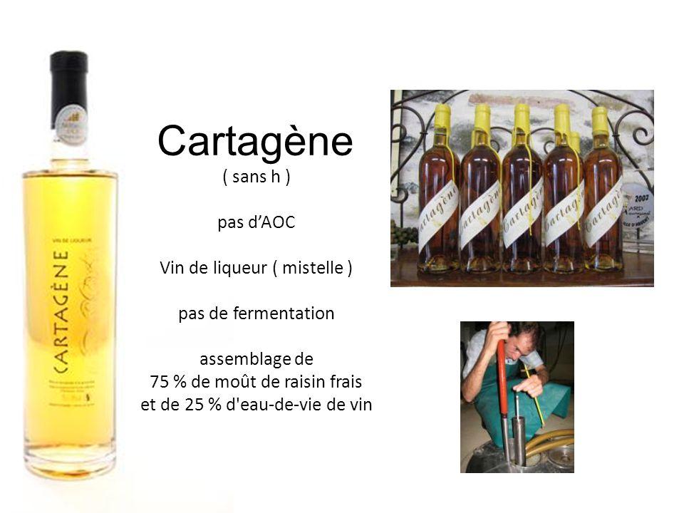 Cartagène ( sans h ) pas dAOC Vin de liqueur ( mistelle ) pas de fermentation assemblage de 75 % de moût de raisin frais et de 25 % d eau-de-vie de vin