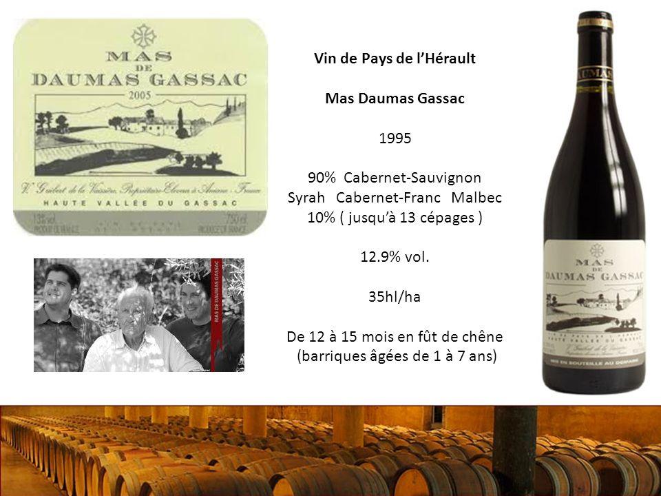 Vin de Pays de lHérault Mas Daumas Gassac 1995 90% Cabernet-Sauvignon Syrah Cabernet-Franc Malbec 10% ( jusquà 13 cépages ) 12.9% vol.