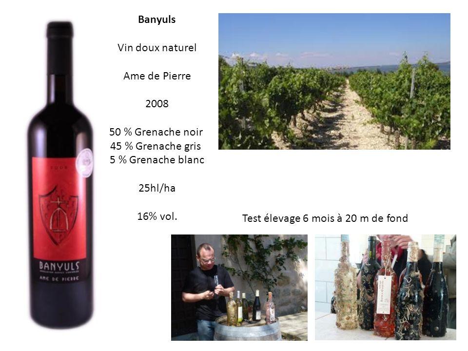 Banyuls Vin doux naturel Ame de Pierre 2008 50 % Grenache noir 45 % Grenache gris 5 % Grenache blanc 25hl/ha 16% vol.