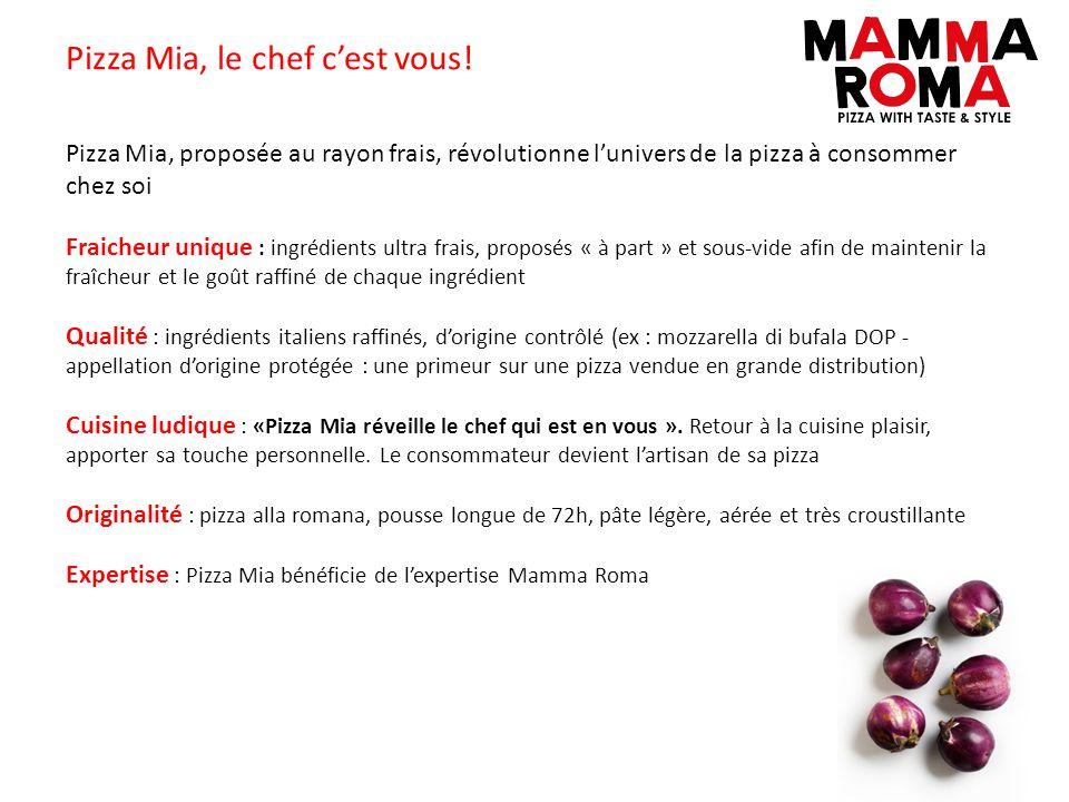 Pizza Mia, le chef cest vous! Pizza Mia, proposée au rayon frais, révolutionne lunivers de la pizza à consommer chez soi Fraicheur unique : ingrédient