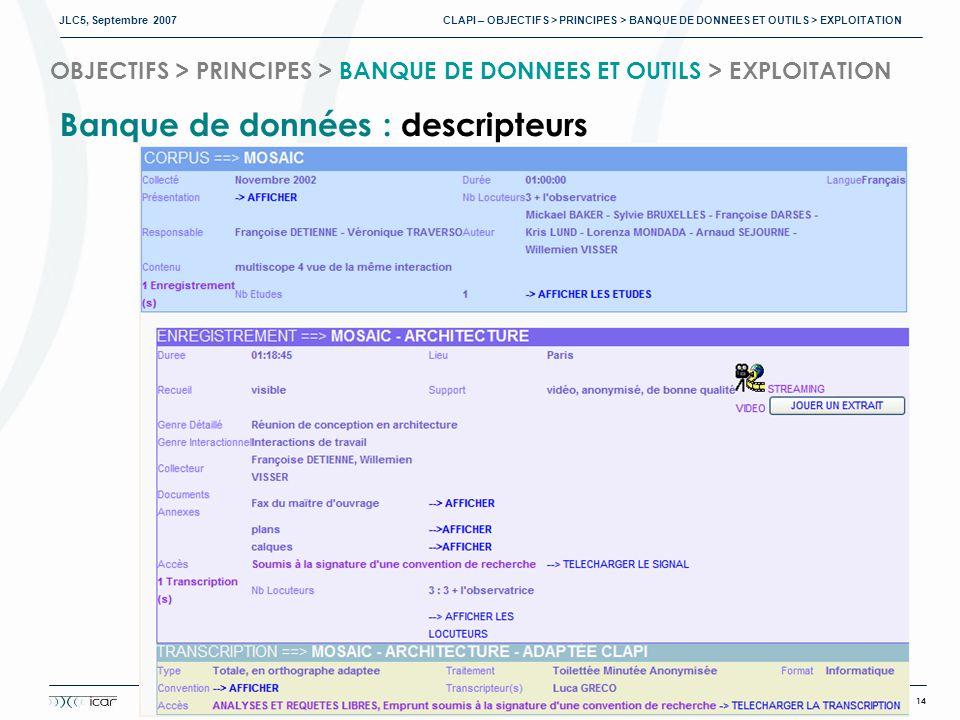 JLC5, Septembre 2007 CLAPI – OBJECTIFS > PRINCIPES > BANQUE DE DONNEES ET OUTILS > EXPLOITATION 14 GROUPE ICOR http://clapi.univ-lyon2.fr OBJECTIFS > PRINCIPES > BANQUE DE DONNEES ET OUTILS > EXPLOITATION Banque de données : descripteurs