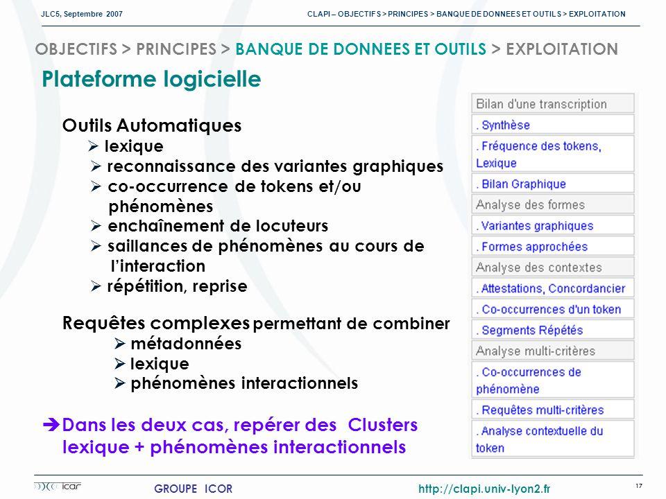 JLC5, Septembre 2007 CLAPI – OBJECTIFS > PRINCIPES > BANQUE DE DONNEES ET OUTILS > EXPLOITATION 17 GROUPE ICOR http://clapi.univ-lyon2.fr OBJECTIFS > PRINCIPES > BANQUE DE DONNEES ET OUTILS > EXPLOITATION Plateforme logicielle Outils Automatiques lexique reconnaissance des variantes graphiques co-occurrence de tokens et/ou phénomènes enchaînement de locuteurs saillances de phénomènes au cours de linteraction répétition, reprise Requêtes complexes permettant de combiner métadonnées lexique phénomènes interactionnels Dans les deux cas, repérer des Clusters lexique + phénomènes interactionnels