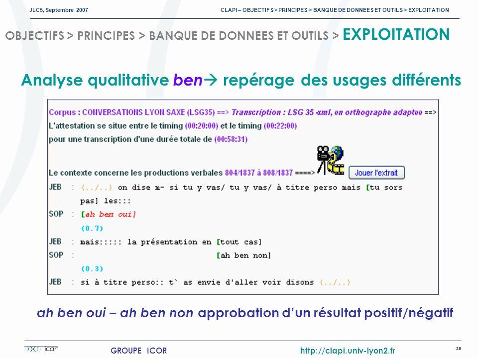 JLC5, Septembre 2007 CLAPI – OBJECTIFS > PRINCIPES > BANQUE DE DONNEES ET OUTILS > EXPLOITATION 25 GROUPE ICOR http://clapi.univ-lyon2.fr OBJECTIFS > PRINCIPES > BANQUE DE DONNEES ET OUTILS > EXPLOITATION ah ben oui – ah ben non approbation dun résultat positif/négatif Analyse qualitative ben repérage des usages différents