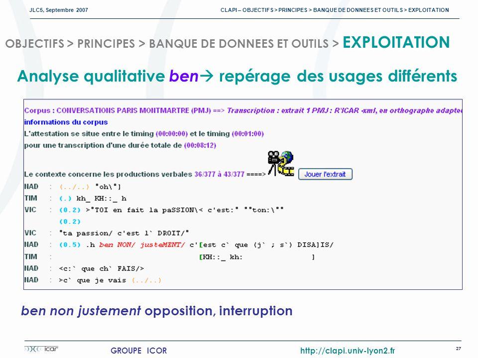 JLC5, Septembre 2007 CLAPI – OBJECTIFS > PRINCIPES > BANQUE DE DONNEES ET OUTILS > EXPLOITATION 27 GROUPE ICOR http://clapi.univ-lyon2.fr OBJECTIFS > PRINCIPES > BANQUE DE DONNEES ET OUTILS > EXPLOITATION ben non justement opposition, interruption Analyse qualitative ben repérage des usages différents