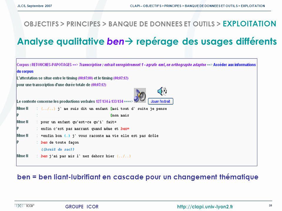 JLC5, Septembre 2007 CLAPI – OBJECTIFS > PRINCIPES > BANQUE DE DONNEES ET OUTILS > EXPLOITATION 28 GROUPE ICOR http://clapi.univ-lyon2.fr Analyse qualitative ben repérage des usages différents ben = ben liant-lubrifiant en cascade pour un changement thématique OBJECTIFS > PRINCIPES > BANQUE DE DONNEES ET OUTILS > EXPLOITATION