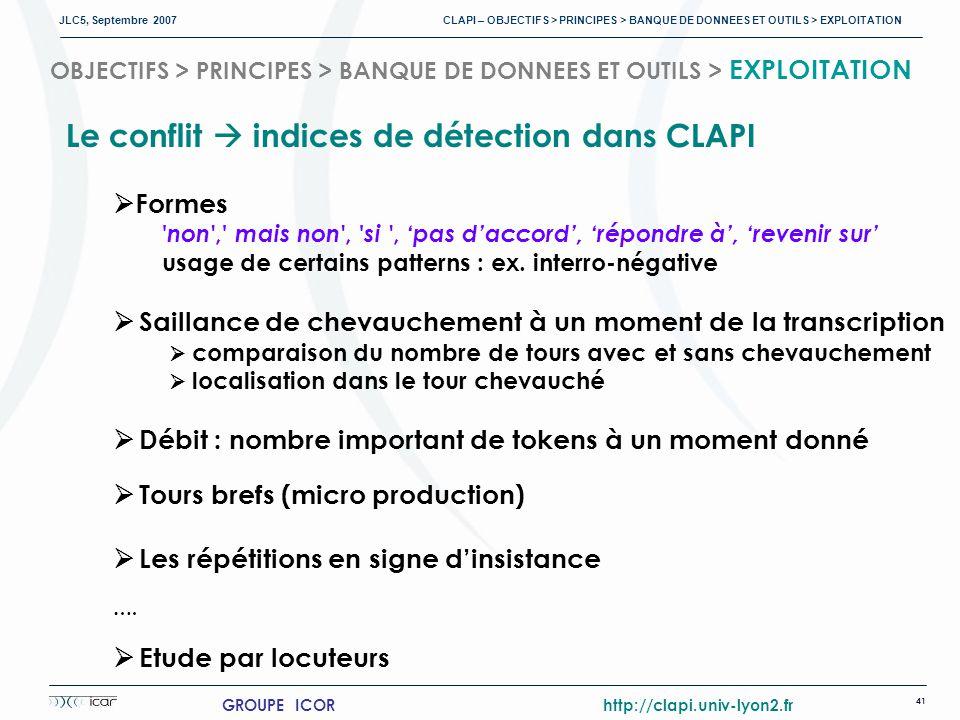 JLC5, Septembre 2007 CLAPI – OBJECTIFS > PRINCIPES > BANQUE DE DONNEES ET OUTILS > EXPLOITATION 41 GROUPE ICOR http://clapi.univ-lyon2.fr OBJECTIFS > PRINCIPES > BANQUE DE DONNEES ET OUTILS > EXPLOITATION Le conflit indices de détection dans CLAPI Formes non , mais non , si , pas daccord, répondre à, revenir sur usage de certains patterns : ex.