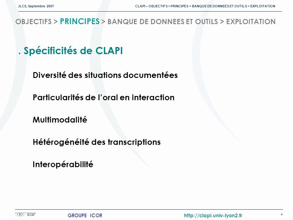 JLC5, Septembre 2007 CLAPI – OBJECTIFS > PRINCIPES > BANQUE DE DONNEES ET OUTILS > EXPLOITATION 6 GROUPE ICOR http://clapi.univ-lyon2.fr OBJECTIFS > PRINCIPES > BANQUE DE DONNEES ET OUTILS > EXPLOITATION.