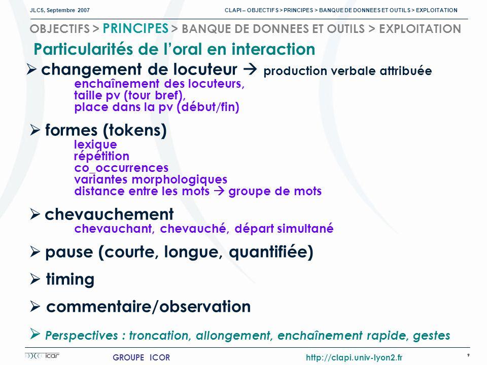 JLC5, Septembre 2007 CLAPI – OBJECTIFS > PRINCIPES > BANQUE DE DONNEES ET OUTILS > EXPLOITATION 9 GROUPE ICOR http://clapi.univ-lyon2.fr OBJECTIFS > PRINCIPES > BANQUE DE DONNEES ET OUTILS > EXPLOITATION changement de locuteur production verbale attribuée enchaînement des locuteurs, taille pv (tour bref), place dans la pv (début/fin) formes (tokens) lexique répétition co_occurrences variantes morphologiques distance entre les mots groupe de mots chevauchement chevauchant, chevauché, départ simultané pause (courte, longue, quantifiée) timing commentaire/observation Perspectives : troncation, allongement, enchaînement rapide, gestes Particularités de loral en interaction