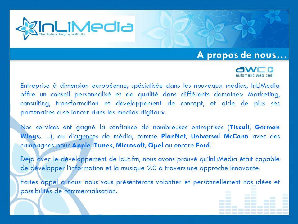 Entreprise à dimension européenne, spécialisée dans les nouveaux médias, InLiMedia offre un conseil personnalisé et de qualité dans différents domaines: Marketing, consulting, transformation et développement de concept, et aide de plus ses partenaires à se lancer dans les medias digitaux.