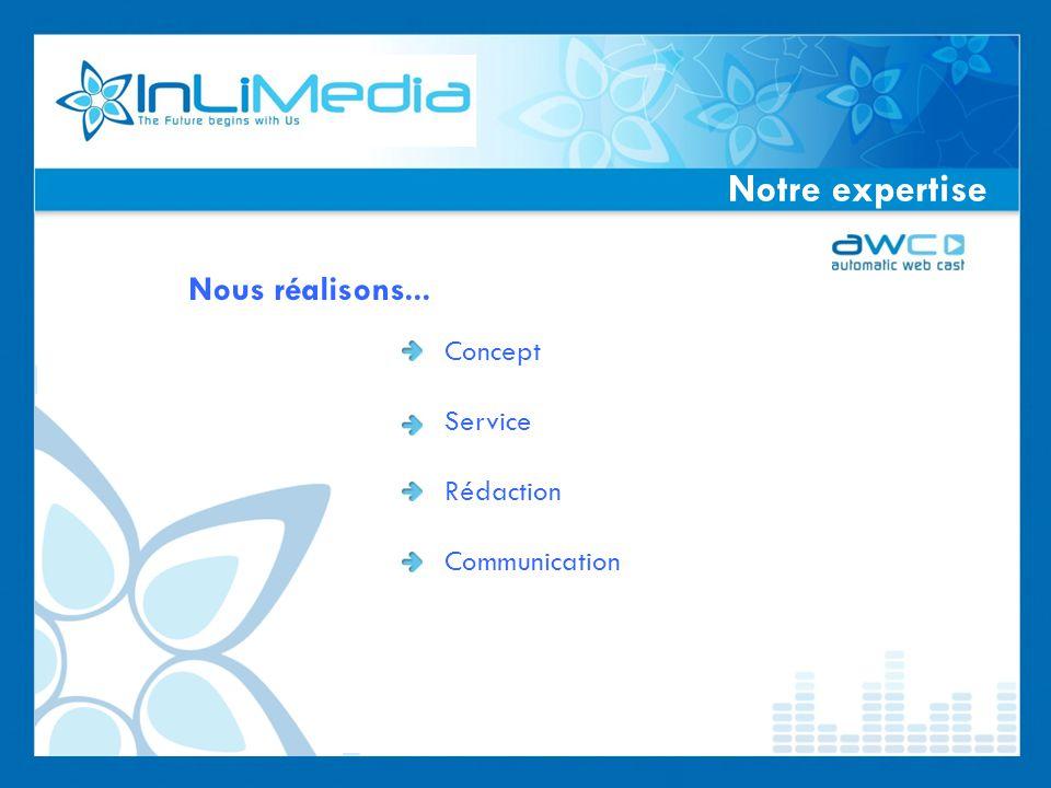Notre expertise Nous réalisons... Concept Service Rédaction Communication