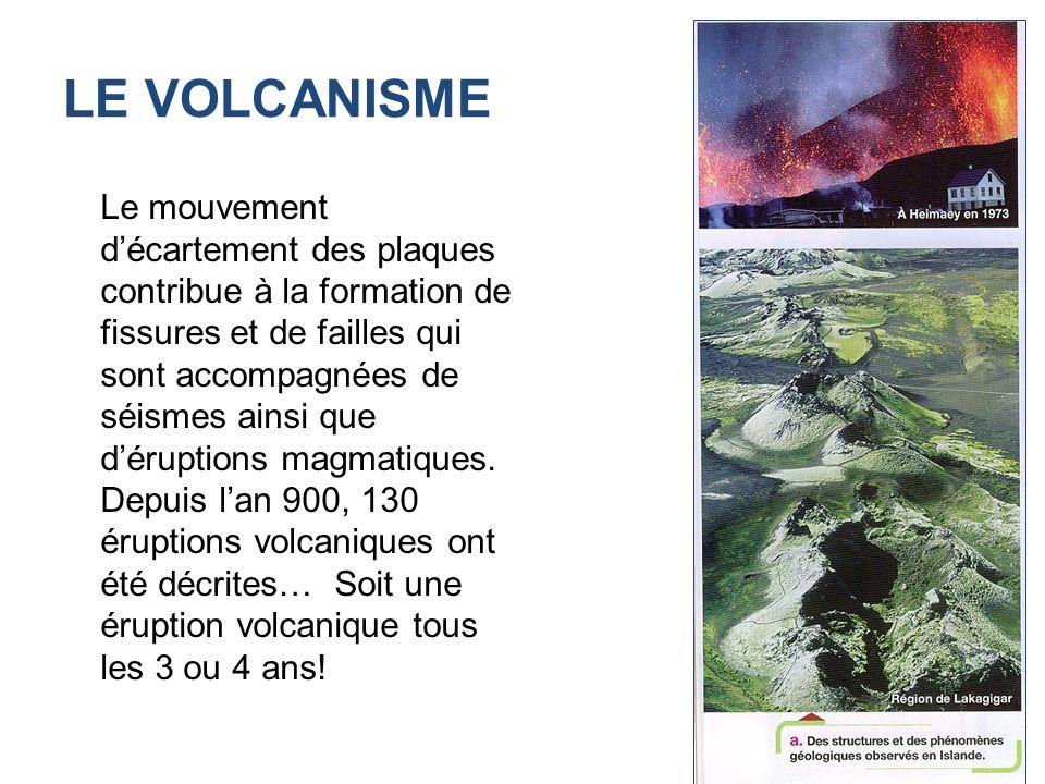 LE VOLCANISME Le mouvement décartement des plaques contribue à la formation de fissures et de failles qui sont accompagnées de séismes ainsi que dérup