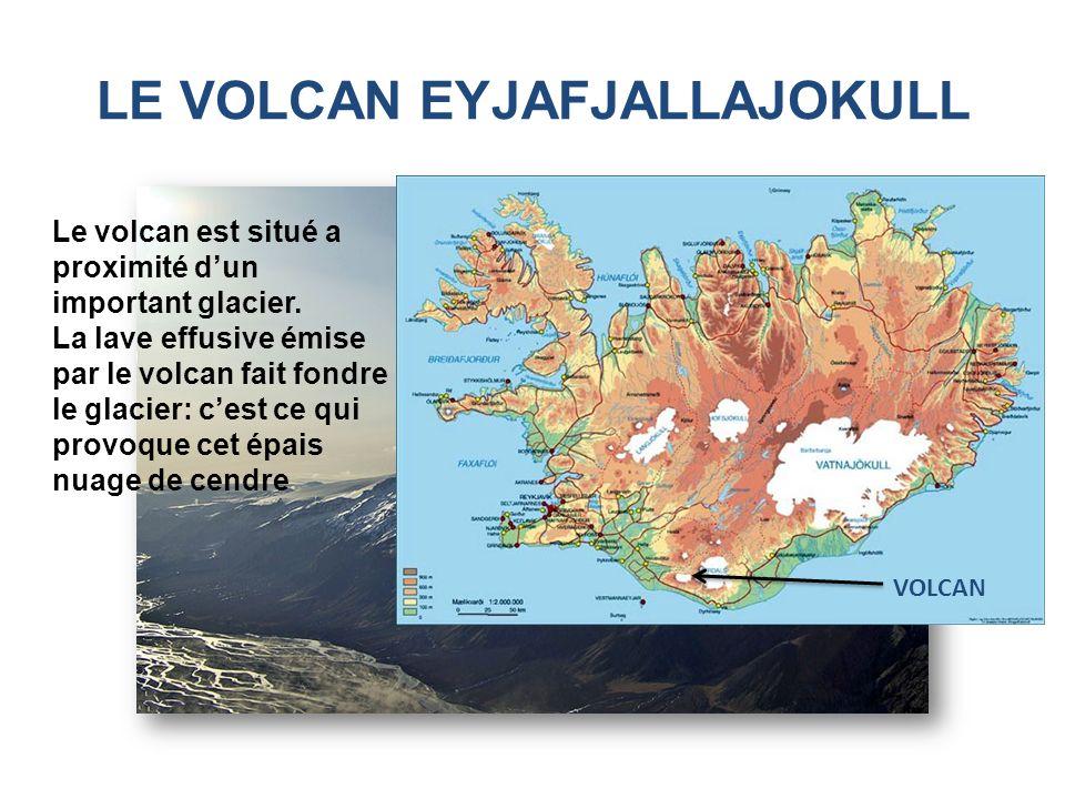 LE VOLCAN EYJAFJALLAJOKULL Le volcan est situé a proximité dun important glacier. La lave effusive émise par le volcan fait fondre le glacier: cest ce