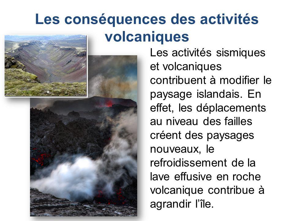 Les activités sismiques et volcaniques contribuent à modifier le paysage islandais. En effet, les déplacements au niveau des failles créent des paysag