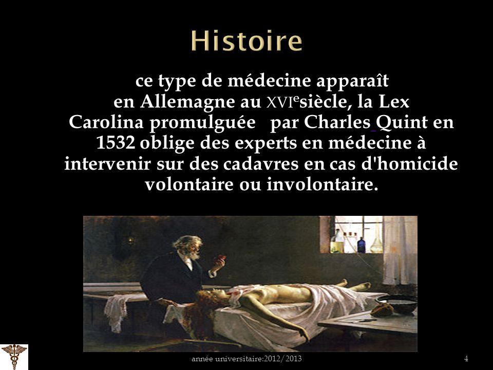 ce type de médecine apparaît en Allemagne au XVI e siècle, la Lex Carolina promulguée par Charles Quint en 1532 oblige des experts en médecine à intervenir sur des cadavres en cas d homicide volontaire ou involontaire.