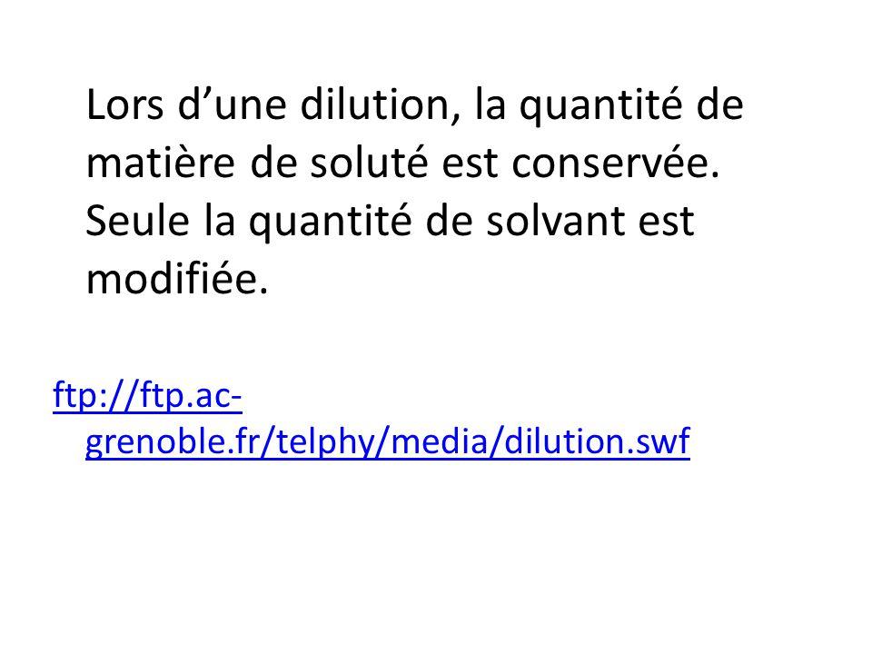 Lors dune dilution, la quantité de matière de soluté est conservée. Seule la quantité de solvant est modifiée. ftp://ftp.ac- grenoble.fr/telphy/media/