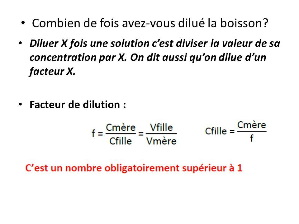 Diluer X fois une solution cest diviser la valeur de sa concentration par X. On dit aussi quon dilue dun facteur X. Facteur de dilution : Combien de f