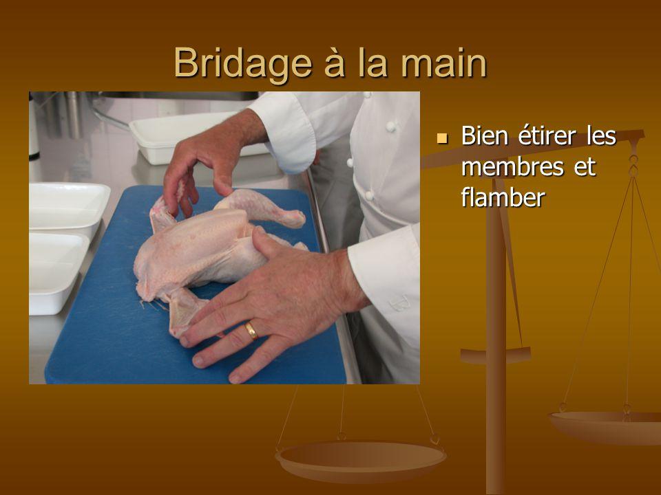 Bridage à la main Former la volaille en tirant sur la peau pour une belle présentation