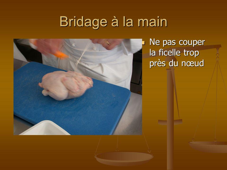 Bridage à la main Ne pas couper la ficelle trop près du nœud