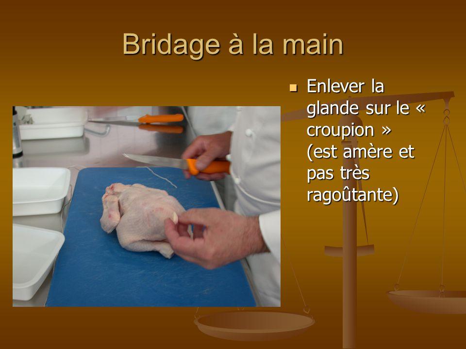 Bridage à la main Positionner la volaille sur le dos et cou contre soi Passer la ficelle sous le croupion