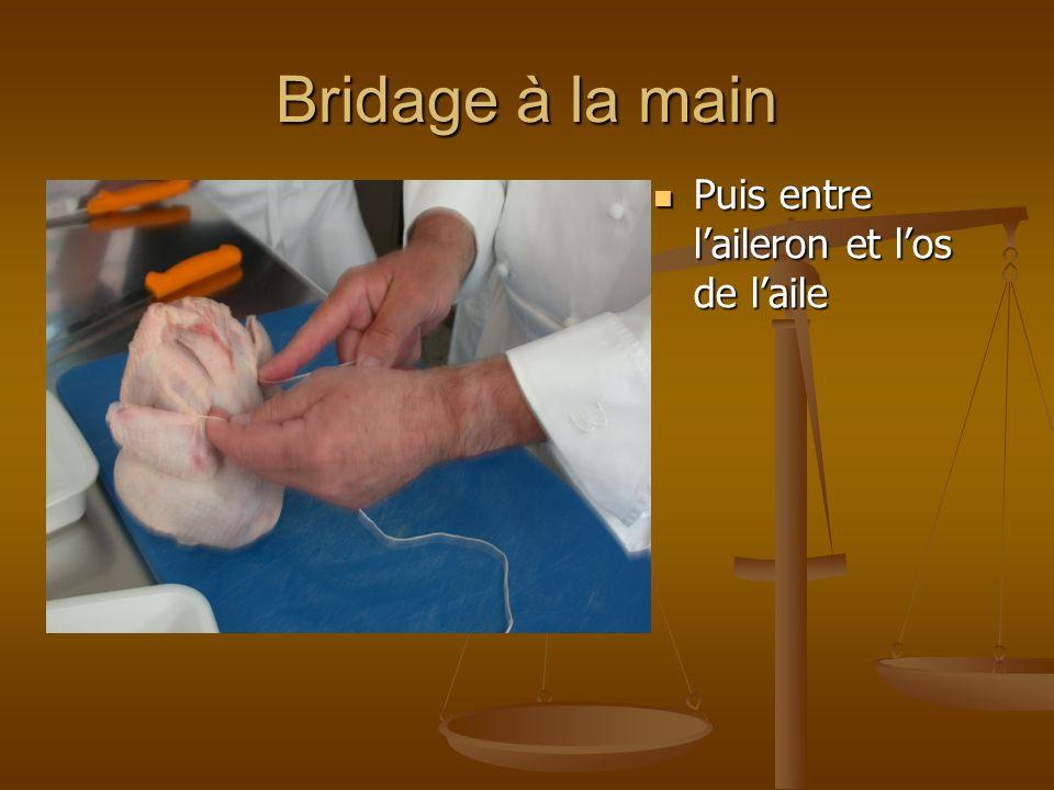 Bridage à la main Attacher sur la colonne, bien serrer Faire plusieurs nœuds