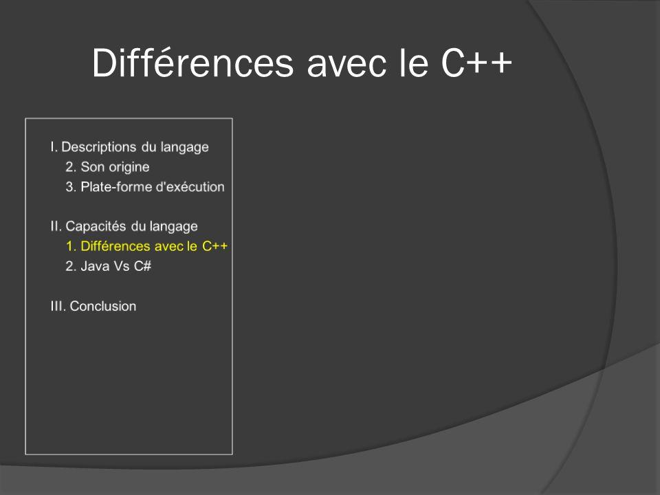 Différences avec le C++