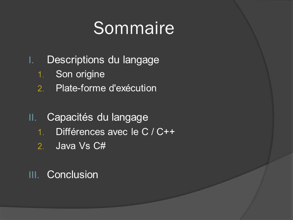 Sommaire I. Descriptions du langage 1. Son origine 2.