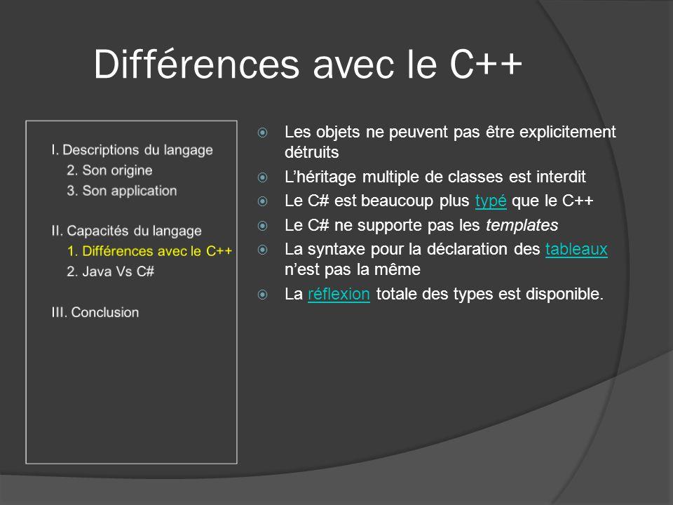 Différences avec le C++ Les objets ne peuvent pas être explicitement détruits Lhéritage multiple de classes est interdit Le C# est beaucoup plus typé que le C++typé Le C# ne supporte pas les templates La syntaxe pour la déclaration des tableaux nest pas la mêmetableaux La réflexion totale des types est disponible.réflexion